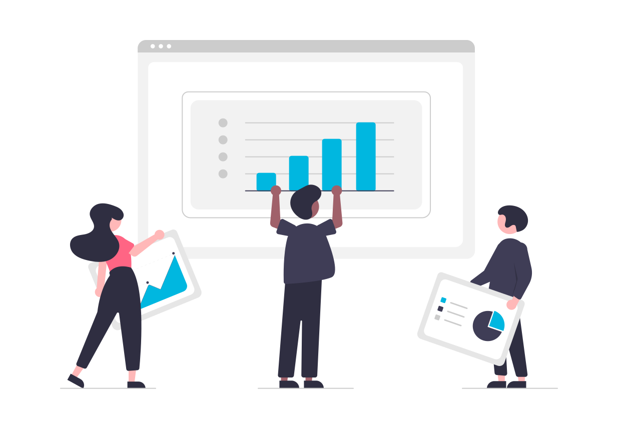 three people working together to create an analytics dashboard